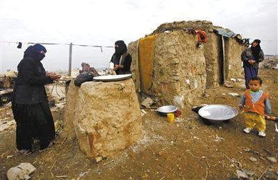 2011年1月4日,巴格达,流离失所的贫穷伊拉克人。