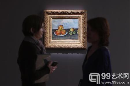 在苏富比印象派与现代艺术品拍卖会拍卖预展上,展出的塞尚作品《苹果》