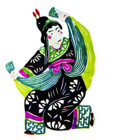 王老赏剪纸作品:京剧《逍遥津》中的伏皇后