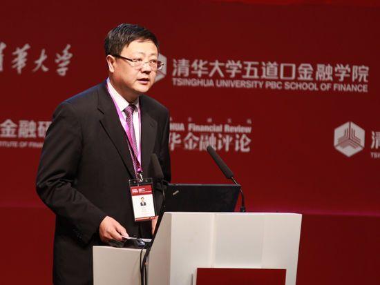 """""""清华五道口全球金融论坛""""于2014年5月10日至12日在北京举行。上图为清华大学校长陈吉宁。"""