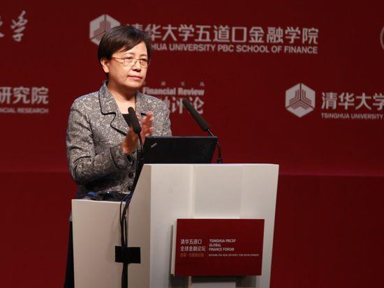"""""""清华五道口全球金融论坛""""于2014年5月10日至12日在北京举行。上图为教育部副部长,清华大学五道口金融学院兼职教授鲁昕"""
