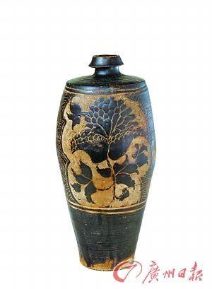 西夏灵武窑黑釉剔花瓶