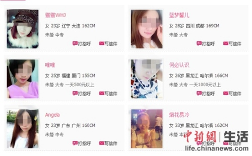 年轻女性在一些租友网站上对外出租自己