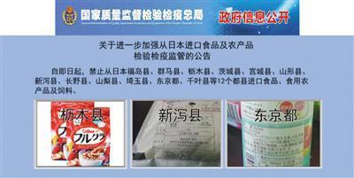國家品質監督檢驗檢疫總局此前發佈的日本食品及農産品禁止進口産地的名單。
