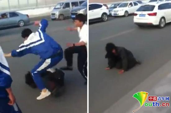 """""""学生殴打乞丐""""视频截图"""