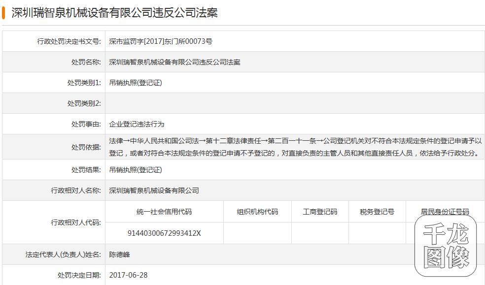 深圳瑞智泉机械设备公司违反规定被吊销执照