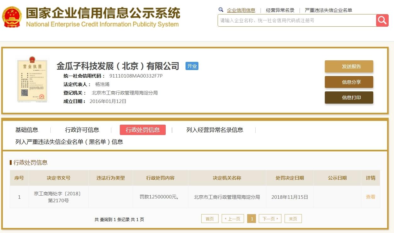 冉涉虚假广告宣传 瓜子二手车被北京工商局罚