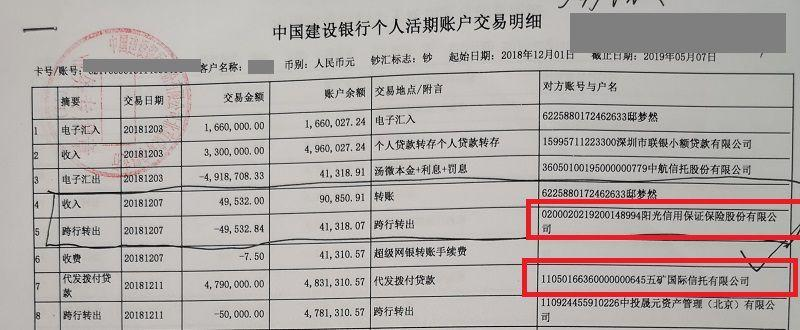受害人资金流水显示,中安民生掌握其银行卡期间,阳光信保在获得五矿向其借款之前就和该账户发生了资金往来