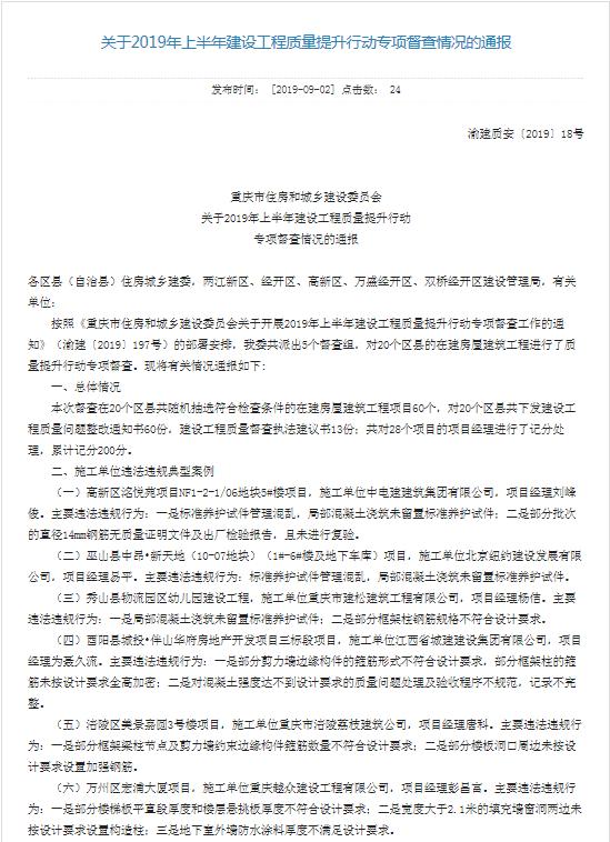 重庆住建委通报2019上半年建设工程质量提升行动专项督查情况