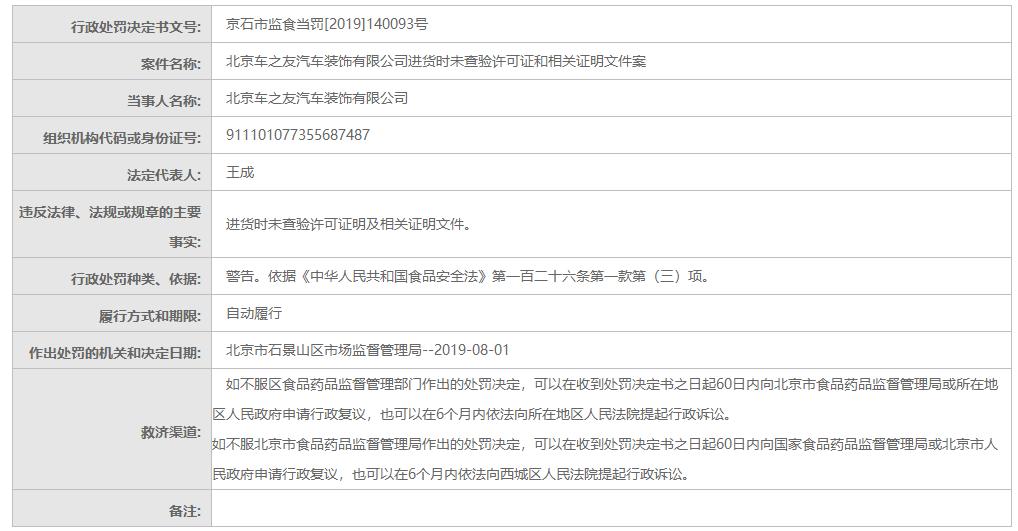 北京市市场监督管理局行政处罚信息公开表