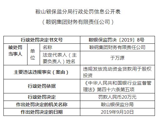 鞍钢财务公司违法遭罚 发放流动资金贷款用于股权投资