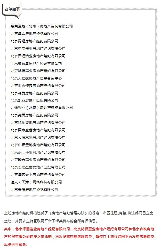 """北京住建曝光23家房地产经纪机构  """"被投诉大户""""达人寓在列"""