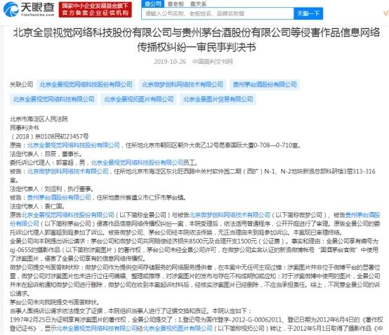 贵州茅台图片侵权 全景网络索赔1万元法院判赔2000元