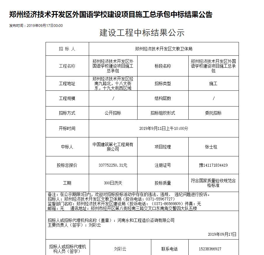 郑州经开区外国语学校项目建成使用后才发招标信息 多部门互称对方负责