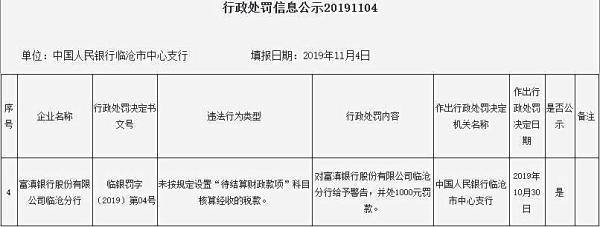 富滇银行临沧分行违法遭罚 未按规定核算经