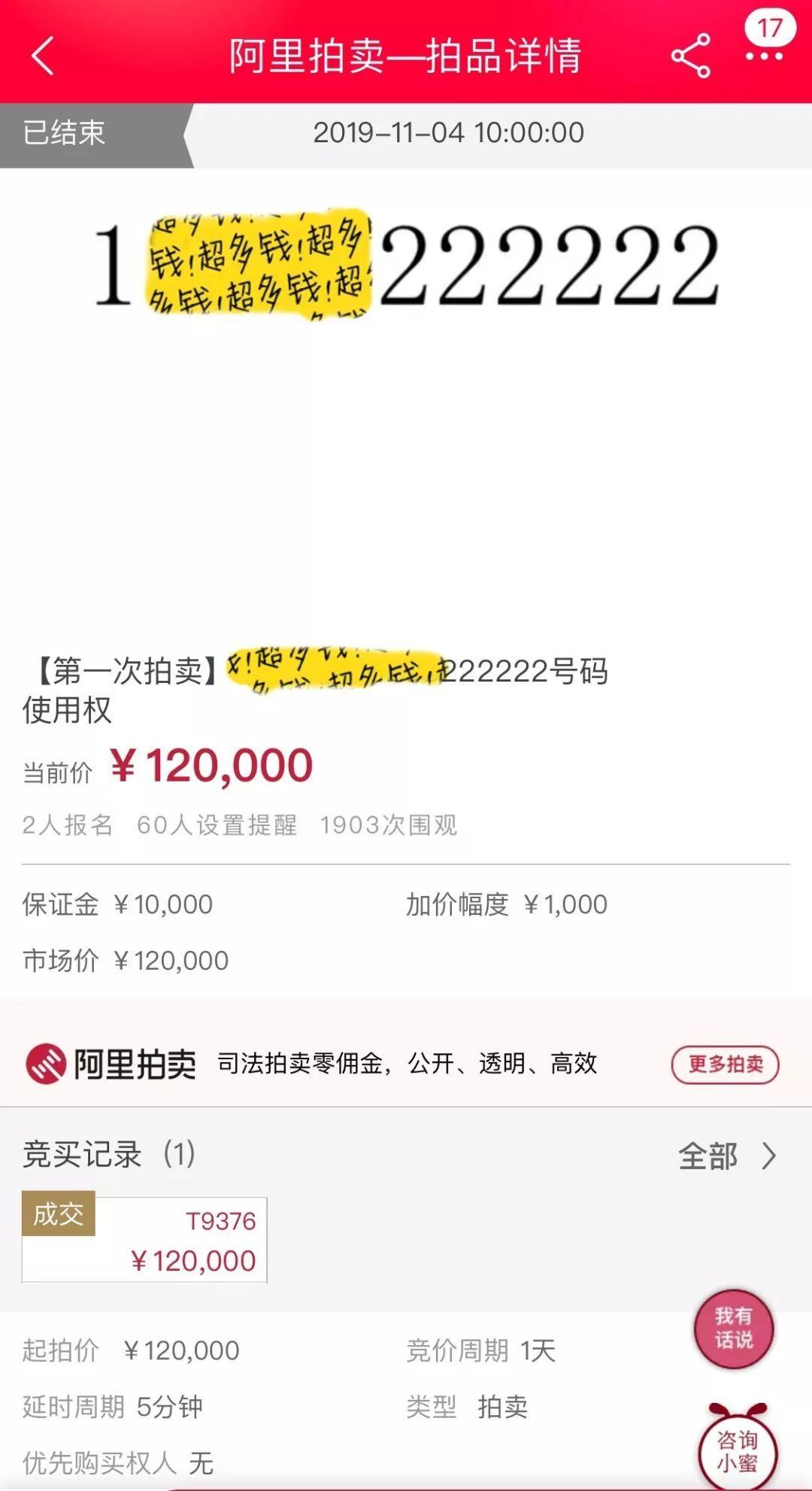 "<b>""老赖""尾号222222手机号被拍卖 12万元成交</b>"