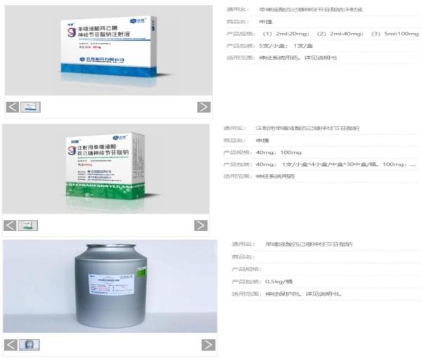 """齐鲁制药含有""""神经节苷脂""""的药品(来源:齐鲁制药官网)"""