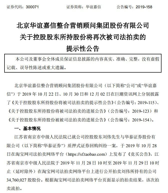 华谊嘉信控股股东股份再遭拍卖 公司面临退市风