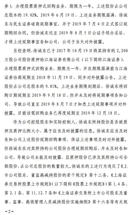 园城黄金实控人徐诚东遭通报批评 未及时披露大额质押