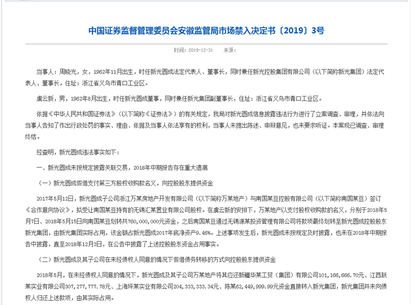 ST新光存违规行为被罚款60万未按规定披露关联交易