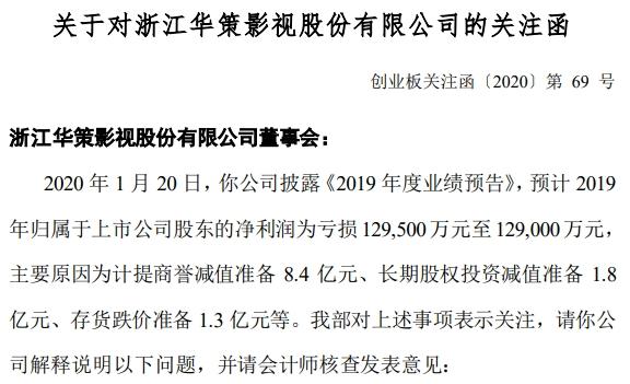 计提大额商誉减值最高预亏近13亿华策影视收关注函