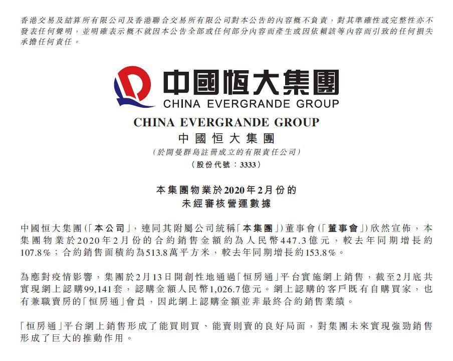 """网上卖房成""""助燃器""""!恒大2月大卖447.3亿3月料再创新高"""