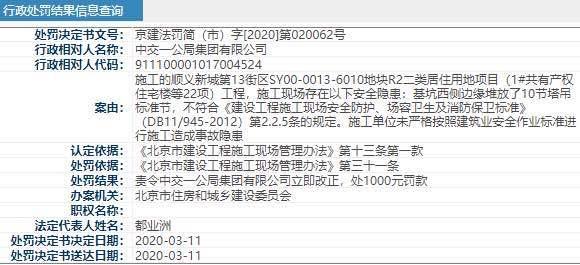 中交一公局施工存在安全隐患遭北京住建处罚
