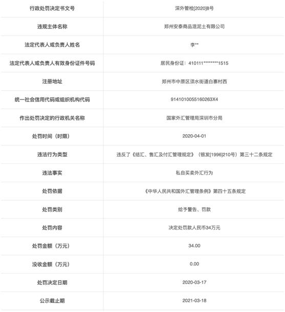 郑州安泰商品混泥土有限公司违法遭罚 私自买卖外汇