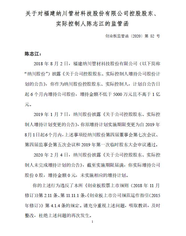 """纳川股份实控人违反规定收监管函 最低5000万增持计划实为""""空头支票"""""""