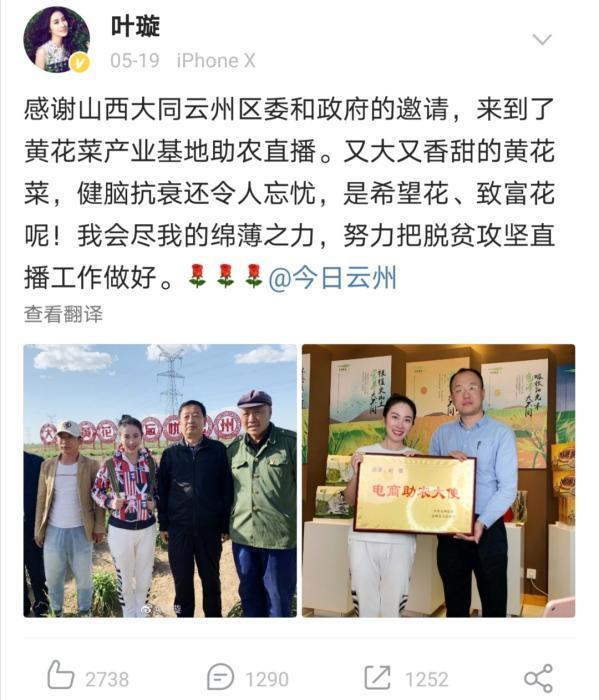 来源:演员叶璇微博截图。