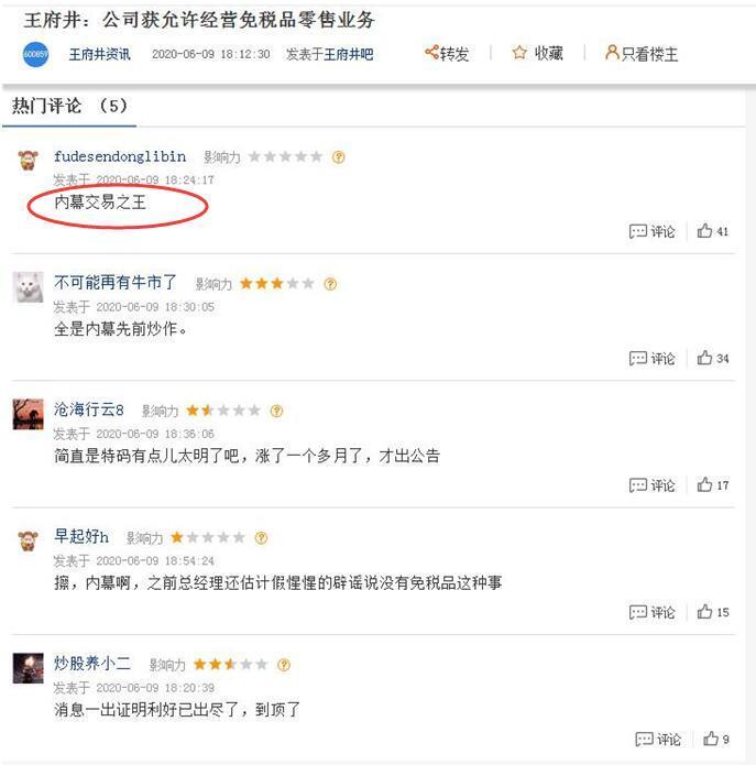 """王府井(600859.SH)公告利好前狂涨一个月 股吧惊呼""""内幕交易之王"""""""