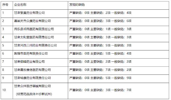 10家药品批发企业飞行检查缺陷汇总表(来源:甘肃省药监局)