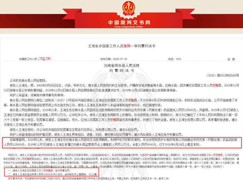 """原商水县人民医院医生收受步长制药子公司12.5万元""""药品回扣""""被拿下"""