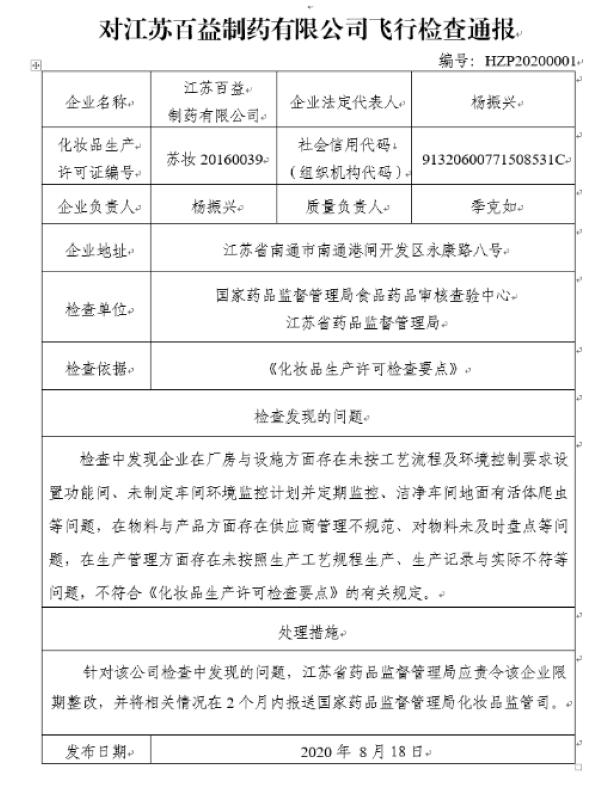 """江苏百益制药""""飞检""""存在问题被通报"""