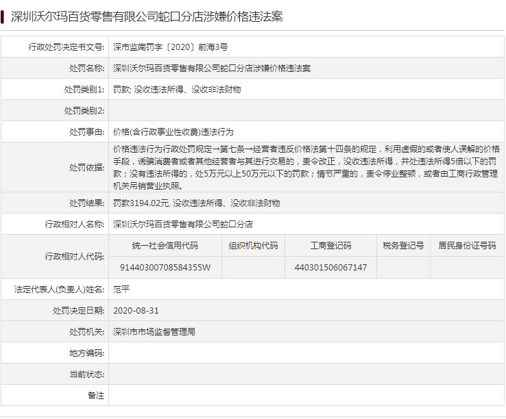 罚款3194元!深圳沃尔玛蛇口分店涉嫌价格违法