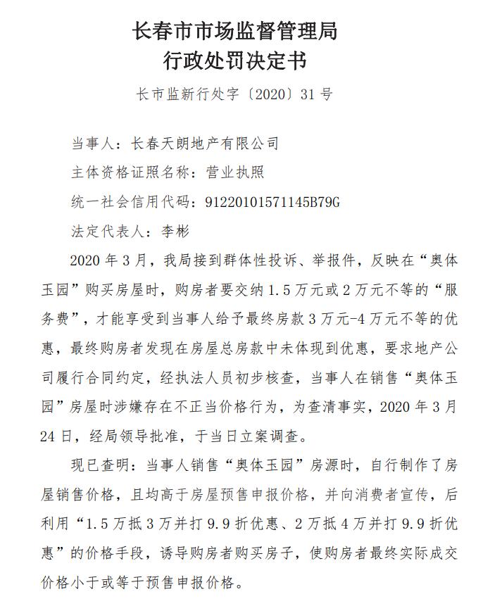 长春天力旗下天朗地产不正当价格行为违反价格法遭处罚罚款50万元