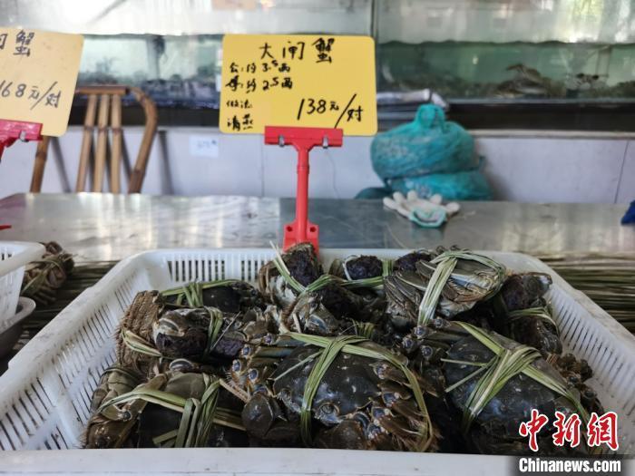 捆扎好的大闸蟹,等待着消费者的购买。 钟升摄
