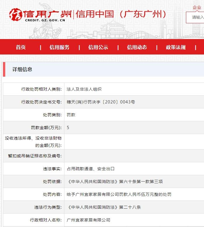 广州宜家家居被罚5万:占用疏散通道、安全出口