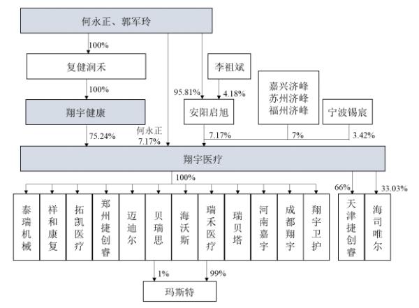 河南翔宇医疗步骤股份有限公司股权结构图(来源:招股书)