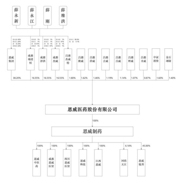 恩威医药股份有限公司股权关系图(来源:招股书)
