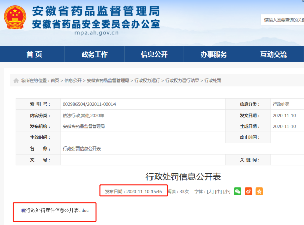 """安徽省宣城市医药公司""""销售劣药""""被没收违法所得"""