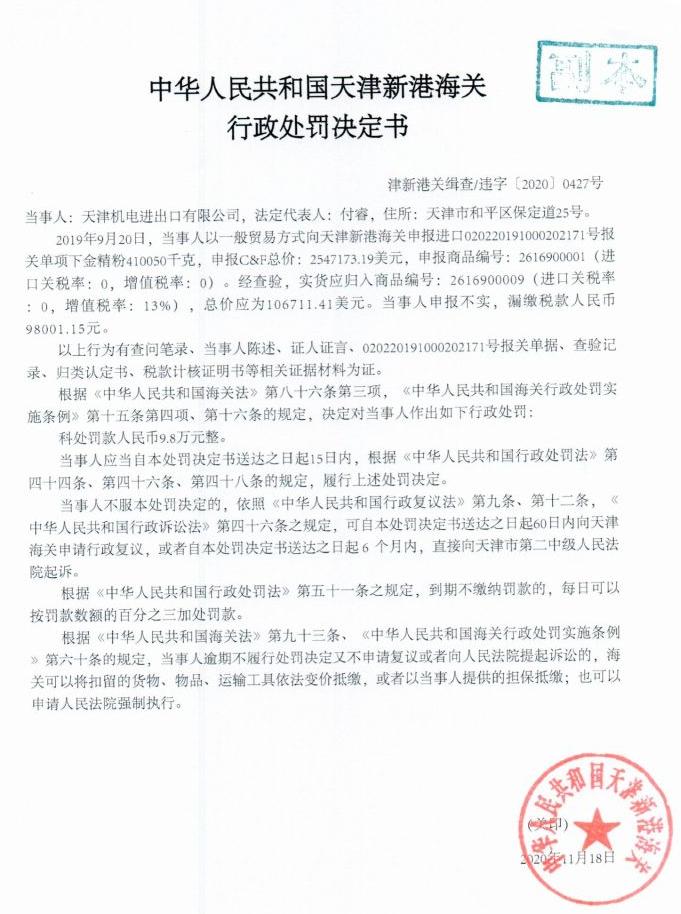 天津机电存在申报不实、漏缴税款行为 被罚款9.8万元