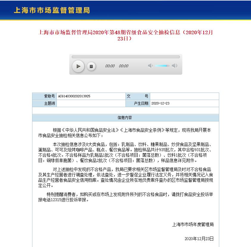 上海抽检4批次食品不合格 涉永辉超市、东源饮用水等公司