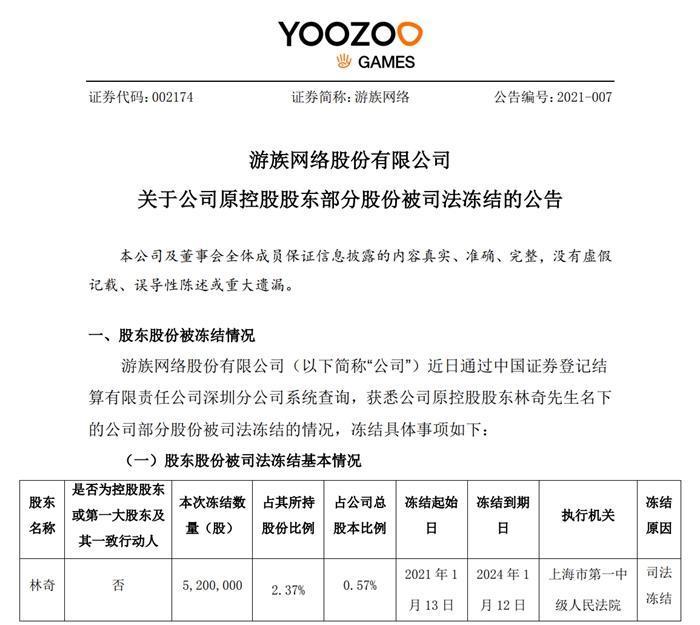 游族网络公告截图。