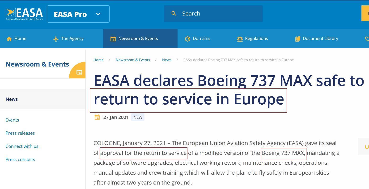 欧洲航空安全局网站宣布 波音737 MAX将在欧洲复飞