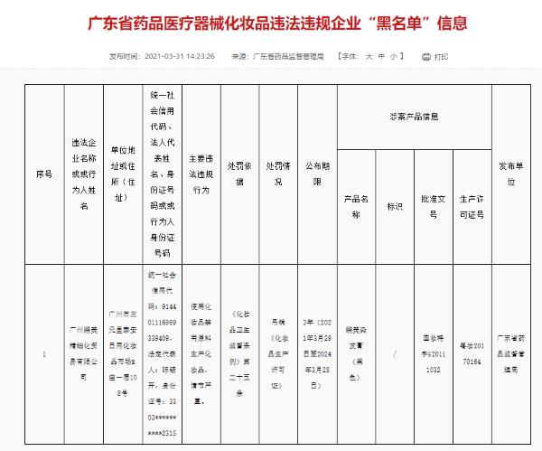 """广州鹏美精细化贸易公司""""使用化妆品禁用原料"""" 被吊销《化妆品生产许可证》"""