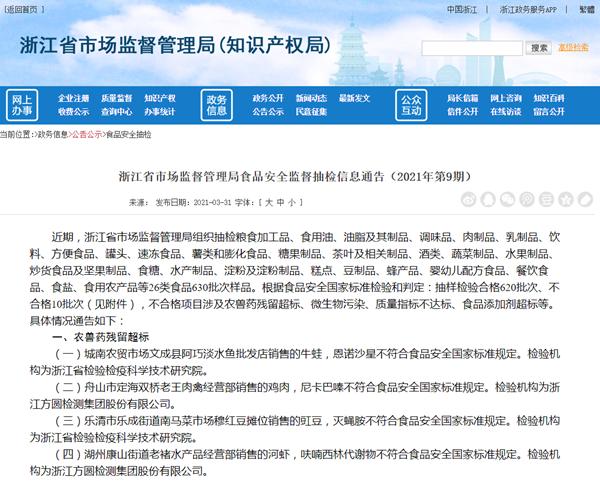 浙江通报检出10批次不合格样品 洋浦南华旗下公司等上黑榜