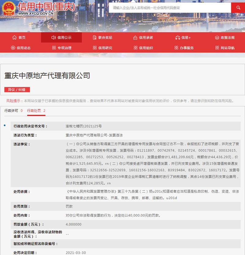 重庆中原地产发票违法遭罚4万元 为中原集团旗下公司
