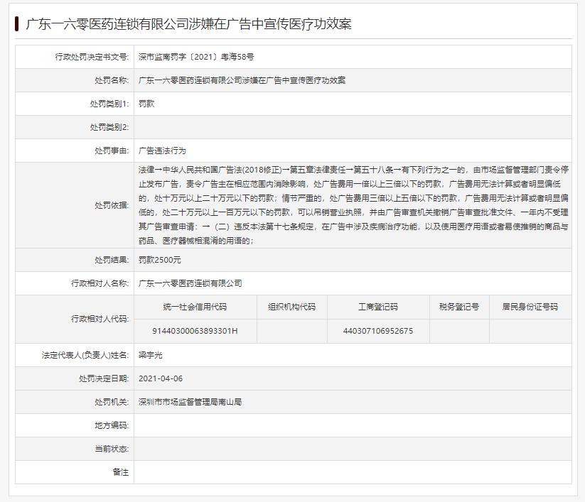 """广东一六零医药公司""""在广告中宣传医疗功效""""被罚"""