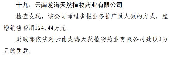 """云南龙海天然植物药业""""虚增销售费用124.44万元""""被罚"""